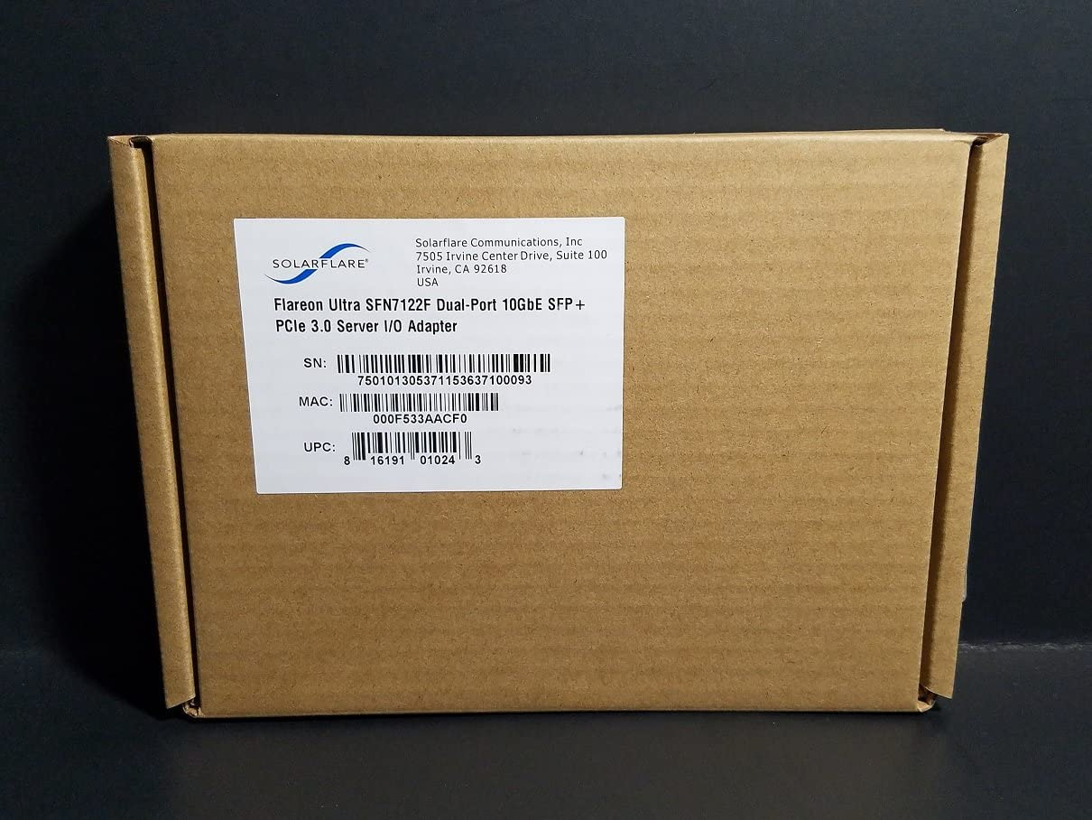 Dual-Port 10GbE Flareon Ultra PCIe I//O Adapter SolarFlare SFN7122F SFP
