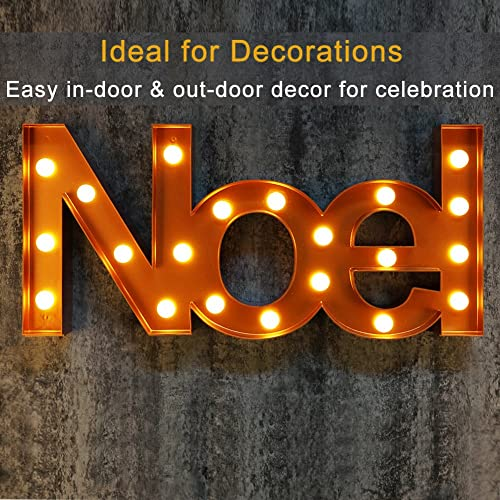 bright zeal big lighted christmas marquee signs noel bronze battery operated - Lighted Christmas Signs