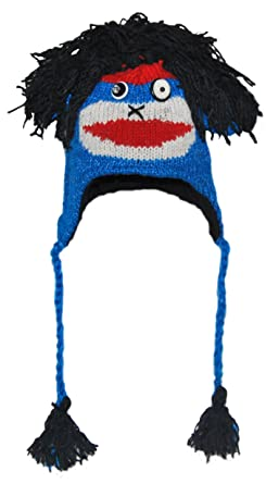 5df58d1433b9 Amazon.com: Blue Punk Rock Sock Monkey Animal Hat Child: Clothing
