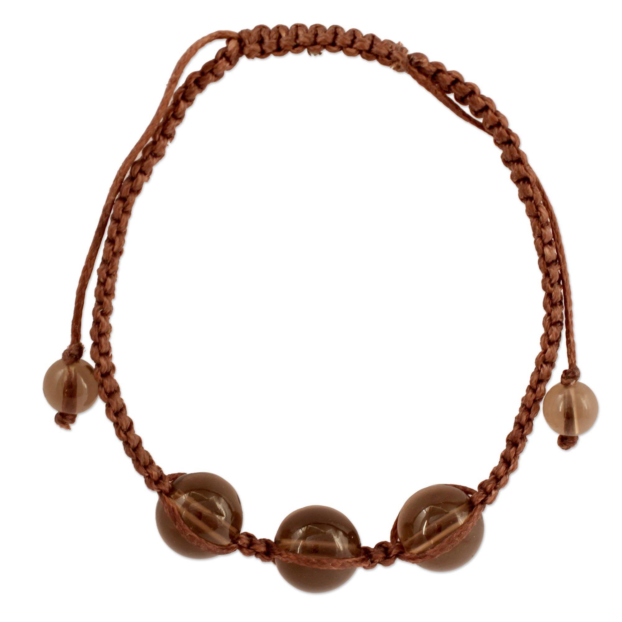 NOVICA Smoky Quartz Beaded Shambhala Style Bracelet 'Enduring Peace', 6.25'' - 9.75''