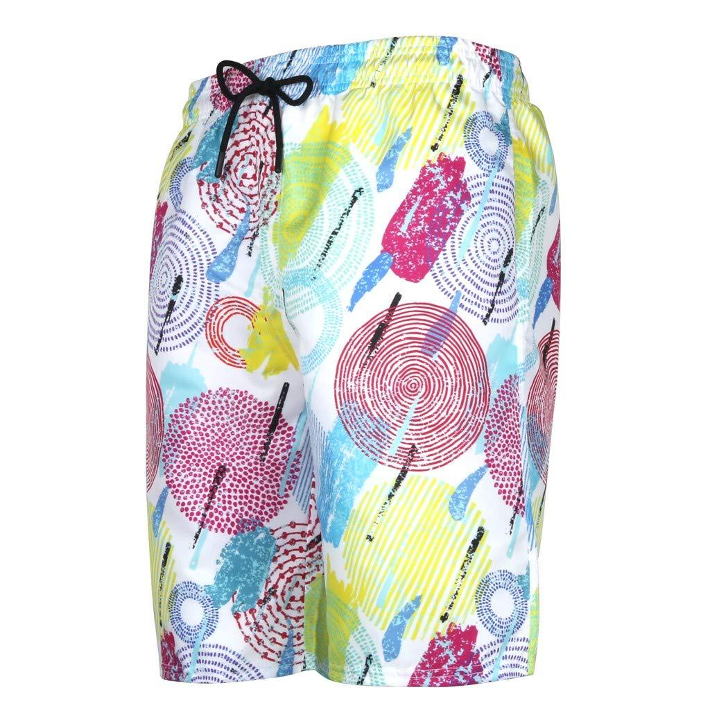 NUWFOR Men's Summer Fashion 3D Printed Shorts Recreational Sports Beach Pants(Multicolor,US L Waist:35.83'')
