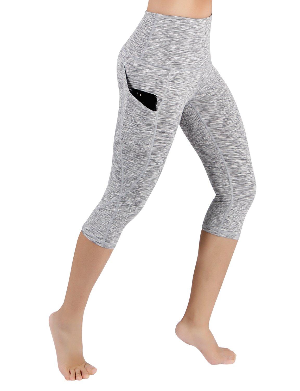 ODODOS パワー フレックス ヨガ カプリ パンツ 腹部コントロール トレーニング ランニング  4 方向ストレッチ レギンス B076GWP7G3 S|Yogapocketcapris714-spacedyegray Yogapocketcapris714-spacedyegray S