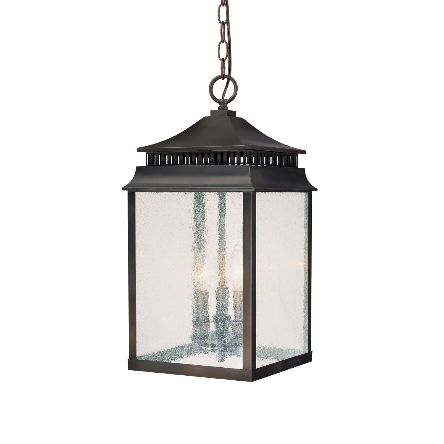 Capital Lighting 9116OB Sutter Creek 3 Light Exterior Hanging Lantern, Old  Bronze Finish With Clear Seeded Glass   Pendant Porch Lights   Amazon.com