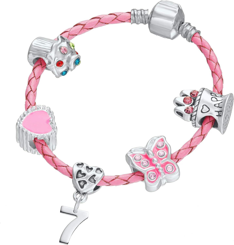 Childrens Pink Leather Happy 7th Birthday Charm Bracelet With Gift Box Girls /& Childrens Birthday Jewellery