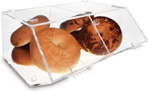 "Ikee Design Acrylic Stackable Bakery Display Case Home Organizer Acrylic Storage Holder Stand for Bagels, Bread and Muffins with A Hinged, Slanted Door with 2 Compartments, 11 7/8"" W x 11"" D x 6"" H"