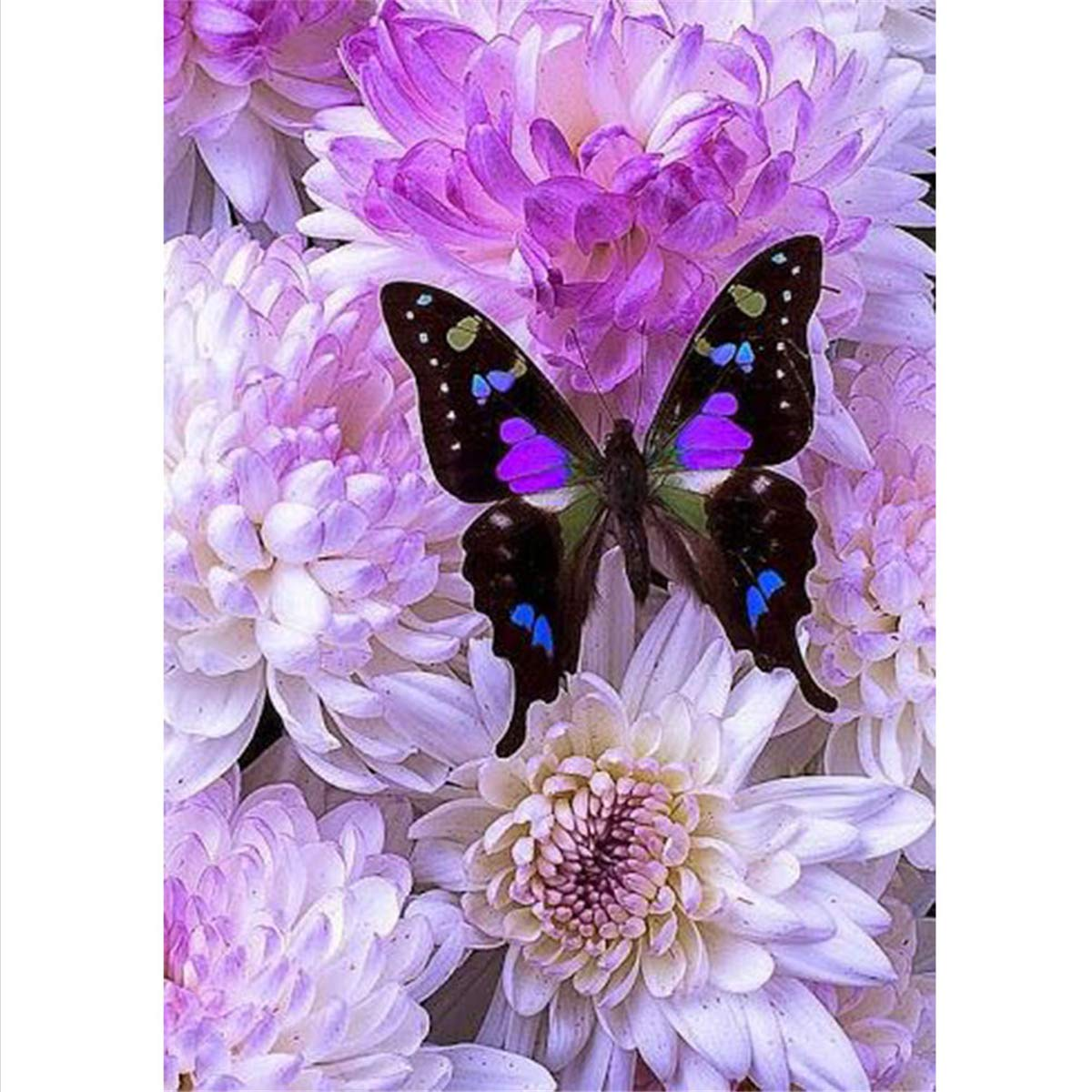 Kissme8 DIY 5D Diamond Painting Kits Full Drill Round Crystal Rhinestone Embroidery Pictures Arts Craft for Home Wall Decor Purple Style Butterfly 30x40cm