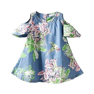 ccff5742c7a4b LittleSpring夏 キッズ 女の子 半袖ワンピース 花柄 デニムワンピース オフショルダー 肩見せチュニック 子供ドレス