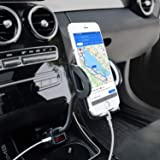 Amoner Car Phone Mount, Adjustable 4-in-1 Cigarette Lighter Cell Phone Holder with Dual USB 3.1A Charger Voltage…