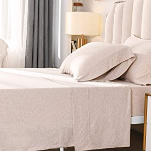 """PURE ERA Jersey Knit 4pc Bed Sheet Set 100% T-Shirt Heather Cotton Super Soft Comfy Breathable Fits Mattress Up to 20"""" Extra Deep Pocket Beige/Ivory Queen"""