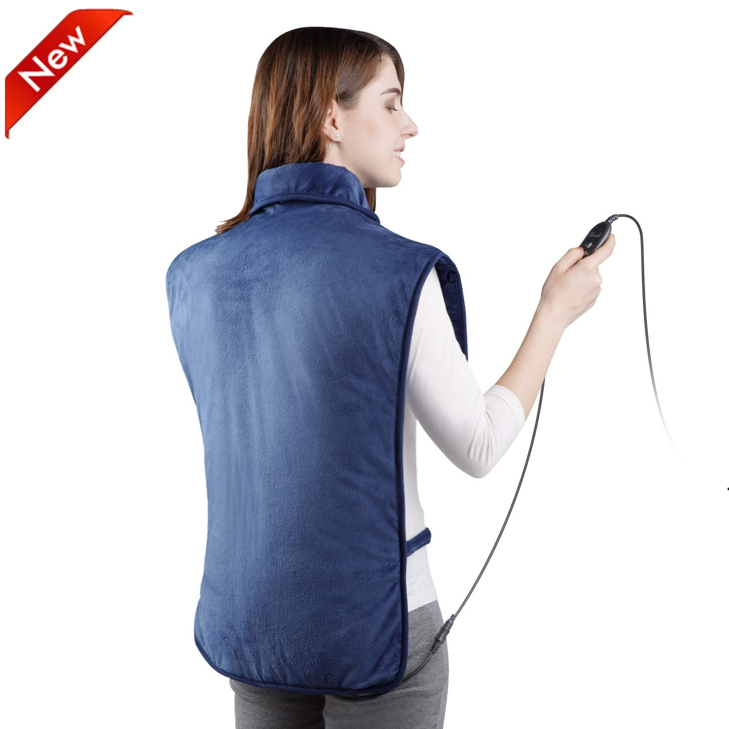 Levesolls Heating Pads for Back Pain,Extra Large Electric Heating Pad for Neck Shoulder Relief,6 Heat Settings Auto Shut Off,(2020 Updated Heating Technology) 100V-240V to 24V,25 Inch x 39 Inch,Blue
