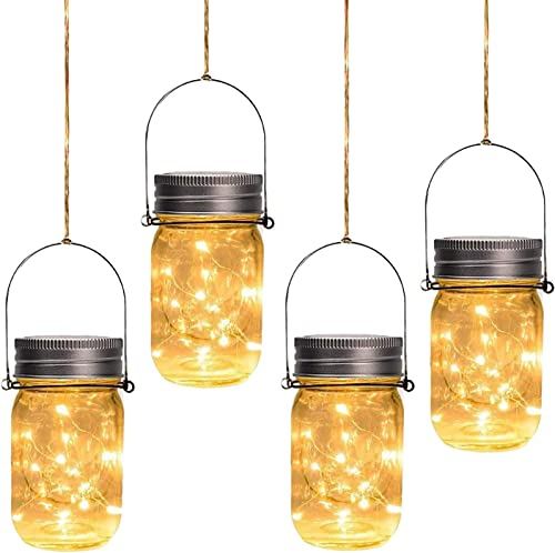 Otdair Solar Mason Jar Lights, 4 Pack 30 LED Outdoor Hanging Solar Lights for Garden Party Patio Fairy Wedding Decor Jars Handles Included