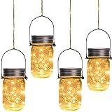 Otdair Solar Mason Jar Lights, 4 Pack 30 LED Outdoor Hanging Solar Lights for Garden Party Patio Fairy Wedding Decor…