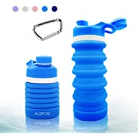 Collapsible Water Bottle Bottles BPA Free FDA Approved Silicone Foldable Flexible for Travel Outdoor Cruise Hiking Gym Leak Proof with Carabiner