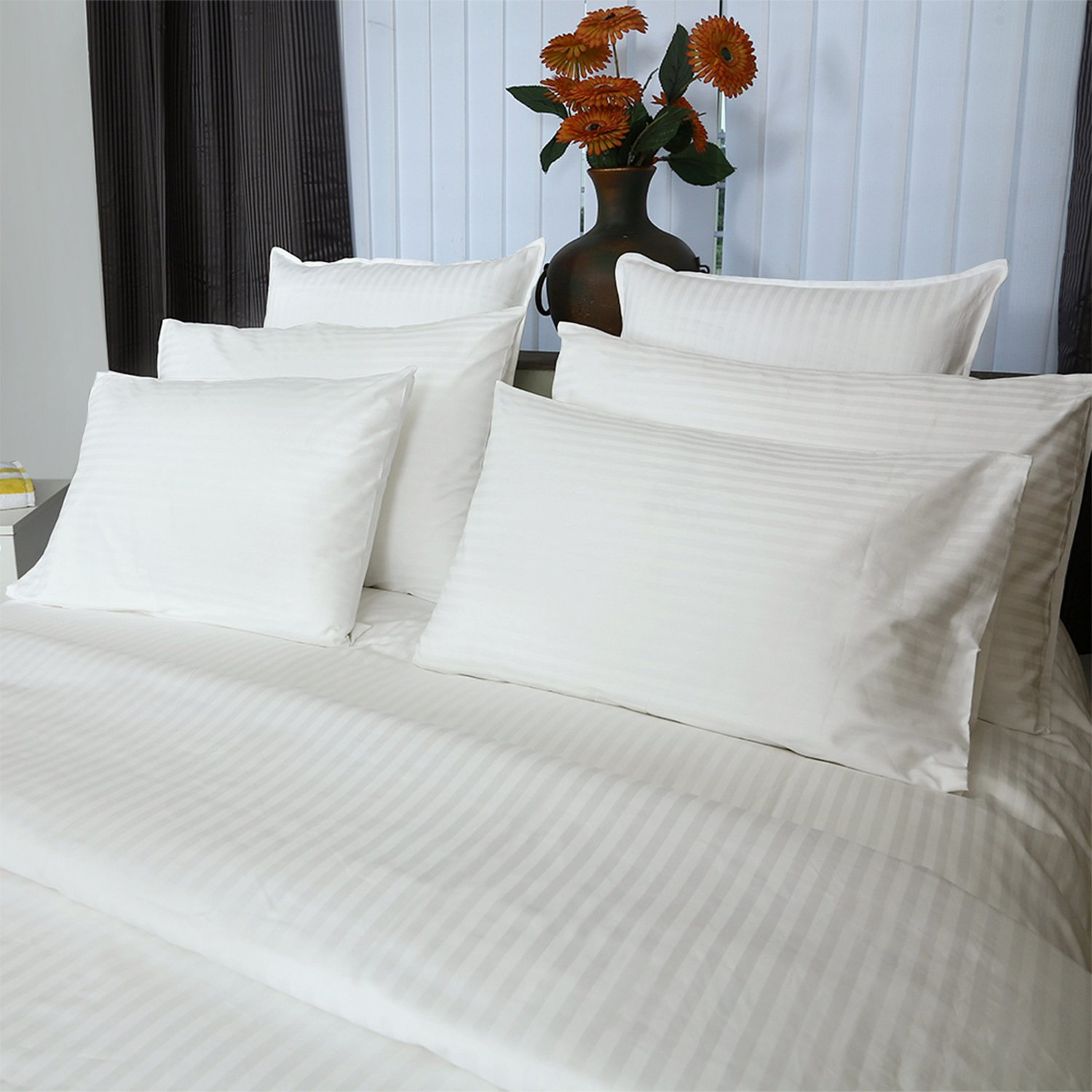 Just Linen Hotel Collection 300 Thread Count 100% Cotton Sateen, Striped White, Pencil Striped Pack of 4 Queen Pillowcases