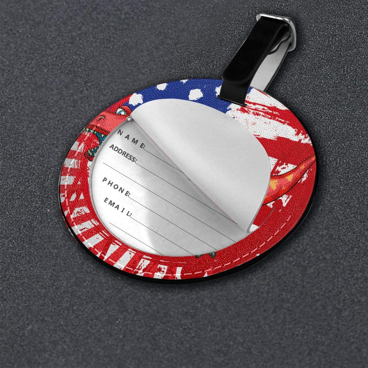 Hs8weyhfffFFF Luggage Tag Round Dinosaurs Us Flag Leather Luggage Bag Label Privacy Cover Business Travel Bag Label