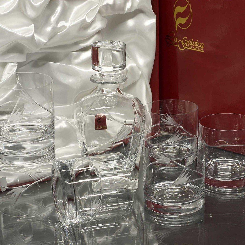 Set/Estuche de 6 Vasos Bajos de Cristal para Whisky o Agua + Botella de Cristal, tallados a Mano, colección 429