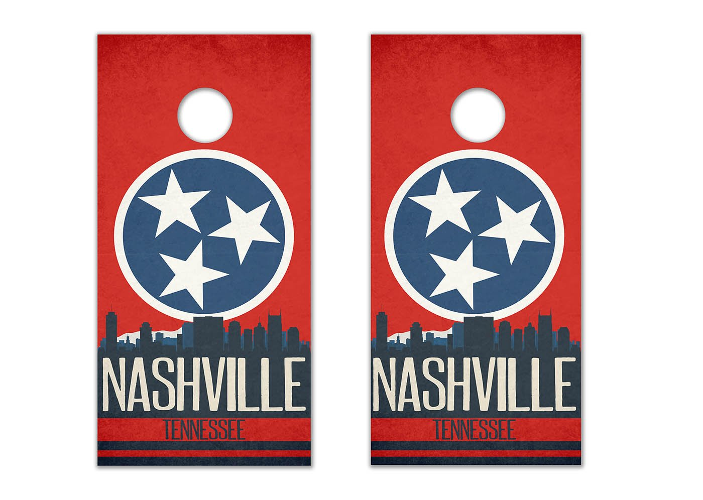Nashville State Flag Skyline - Cornhole Crew - ACA Regulation Size Cornhole Board Decals