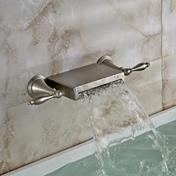 Oulantron Wall Mounted 3 Holes Bathtub Mixer Faucet Dual Knobs ...