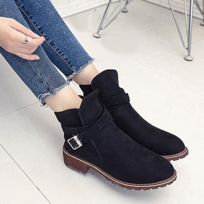 ❤ Botas Mujer Invierno, Buckle Ladies Faux Warm Boots Botines Middle Heels Shoes Botines de Ante Botas Cortas Otoño Invierno Absolute: Amazon.es: Ropa y ...
