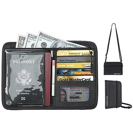 a7990267bf85 RFID Blocking Hidden Passport Holder Travel Neck Wallets New Design-Black