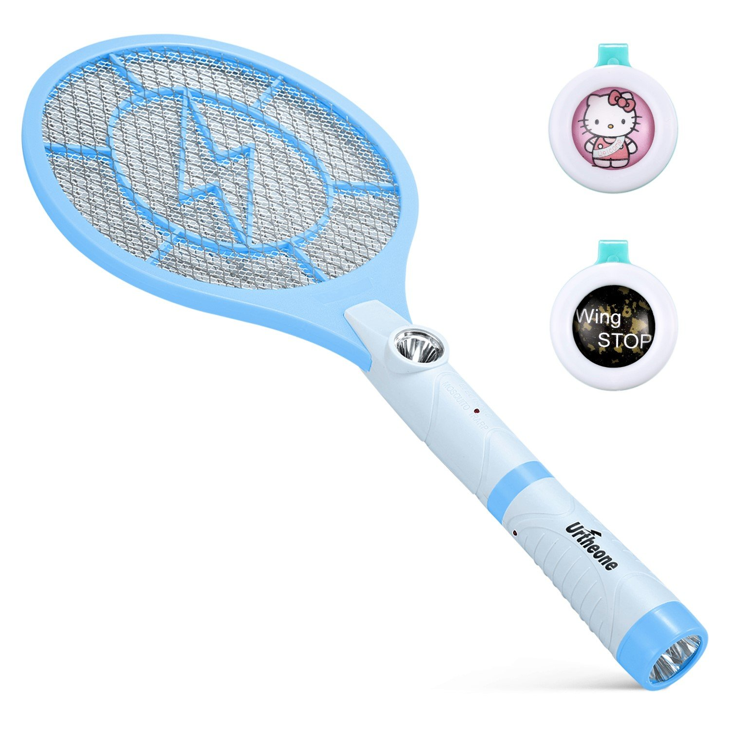 Urtheone Bug Zapper, Rechargeable Electric Fly Swatter Handheld Mosquito Insect Killer, 3800 Volt Mosquito Zapper Racket with Detachable Flash Light, Suitable for Indoor, Travel, Campings and Outdoor