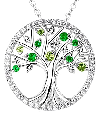 Amazon the tree of life necklace green peridot and emerald the tree of life necklace green peridot and emerald jewelry for women anniversary christmas gifts for aloadofball Gallery