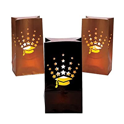 Fun Express - Grad Luminary Bags for Graduation - Party Supplies - Bags - Paper Treat Bags - Graduation - 12 Pieces: Toys & Games