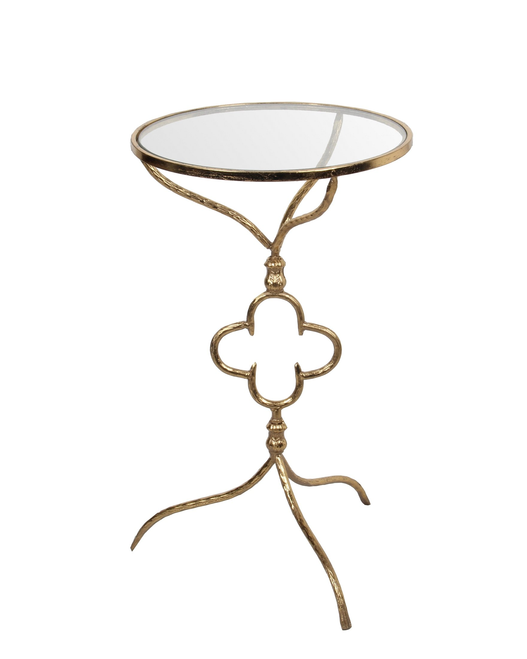 Privilege 18801 Decorative Iron and Glass Table, Gold