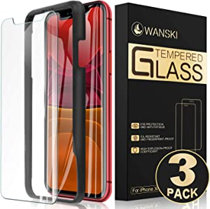 """Tempered Glass Screen Protector for iPhone Xr, iPhone 11, Fingerprint-Resistant with Guide Frame/Easy Installation, Wanski [3 Pack] [6.1""""Size]"""