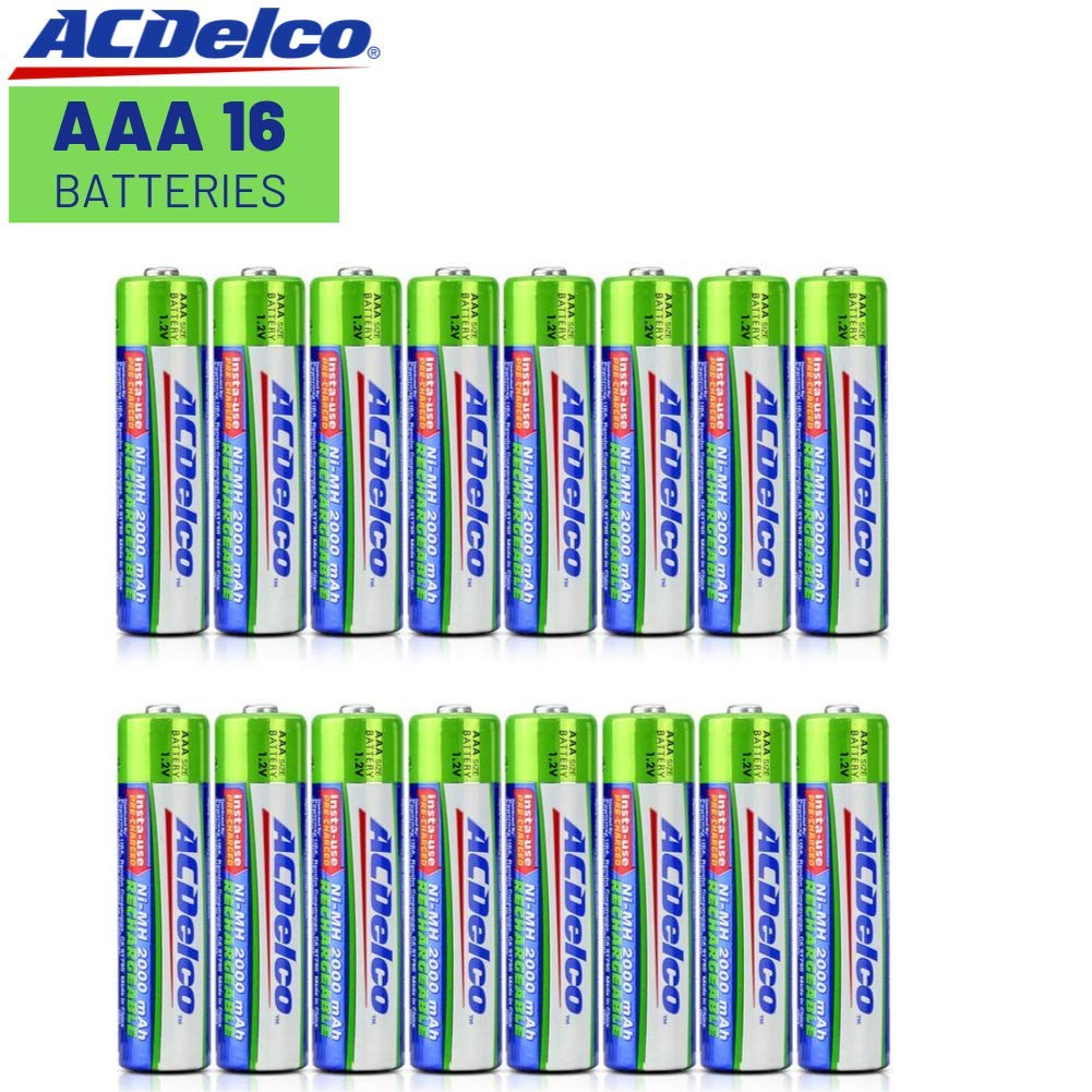 ACDelco AAA Insta-Use Rechargeable Batteries, Precharged, 16 Count by Powermax USA