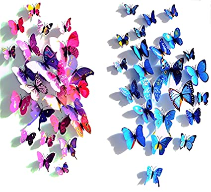 24pcs Purpleu0026blue 3d Butterfly Stickers, Wall Stickers Crafts Butterflies, Wall  Decoration, Fridge Magnet