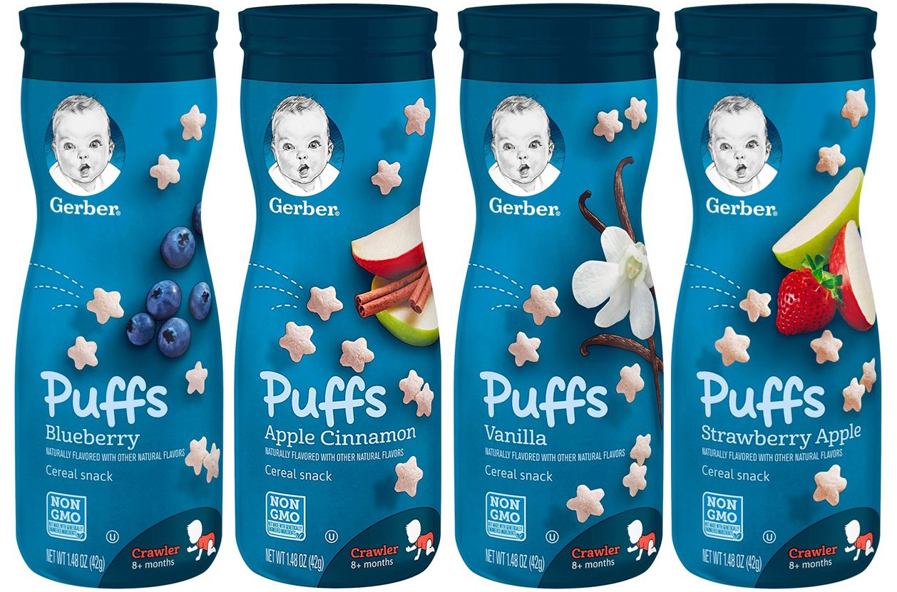 Gerber Graduates Puffs Cereal Snack, Variety Pack Of 4 Each 1.48 Oz.(Blueberry, Apple Cinnamon, Vanilla, Strawberry Apple)