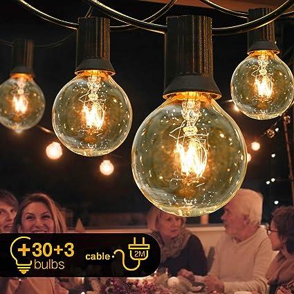 Cadena de luces para exterior e interior, con bombillas G40, 30 unidades, decoración para cumpleaños, boda, Navidad, jardín, con 3 recambios (11M, Wolfram 33 Glühbirnen)
