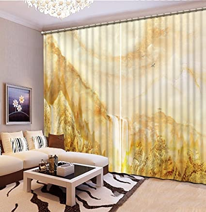 Amazon Com Wapel 3d Curtains Stereoscopic Marble Falls Luxury 3d