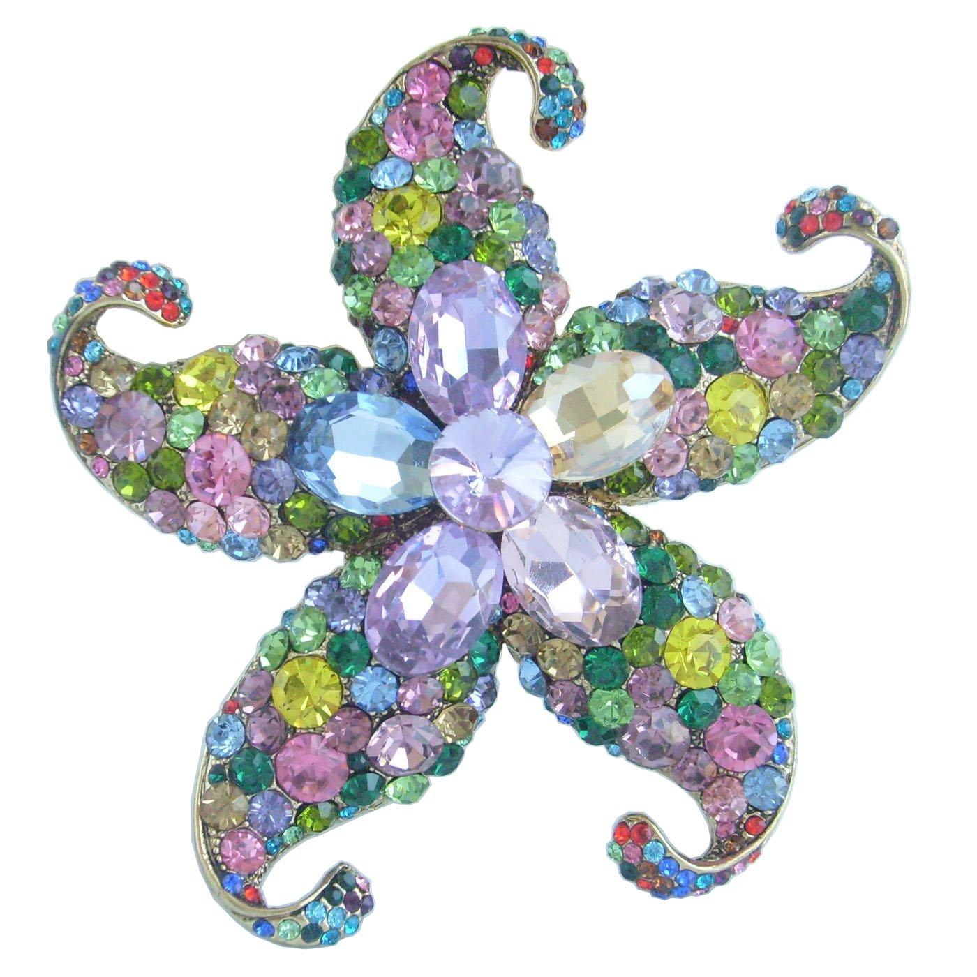 Sindary Charming 3.15'' Austrian Crystal Starfish Brooch Pin Pendant BZ4824 (Gold-Tone Multicolor)