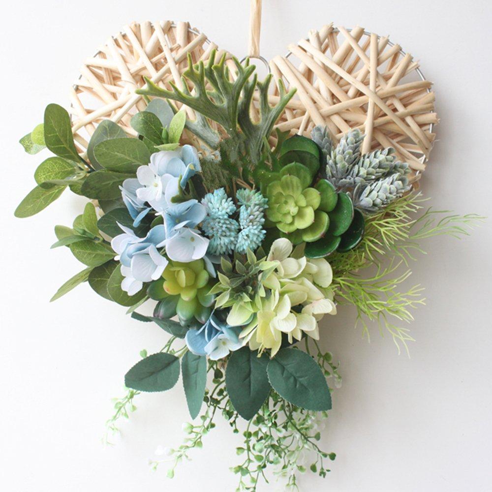 Rattan Wreath Artificial Cactus Wreath Home Decor Wreath Spring Summer Love Wreath Front Door Wall Hanging