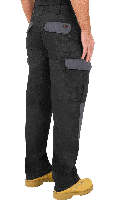 Resistenti Modello Cargo da Lavoro con Tasche per Cuscinetti sulle Ginocchia e Cuciture rinforzate; Disponibili in Nero Grigio//Nero e Nero//Grigio Pantaloni da Uomo Blu Navy