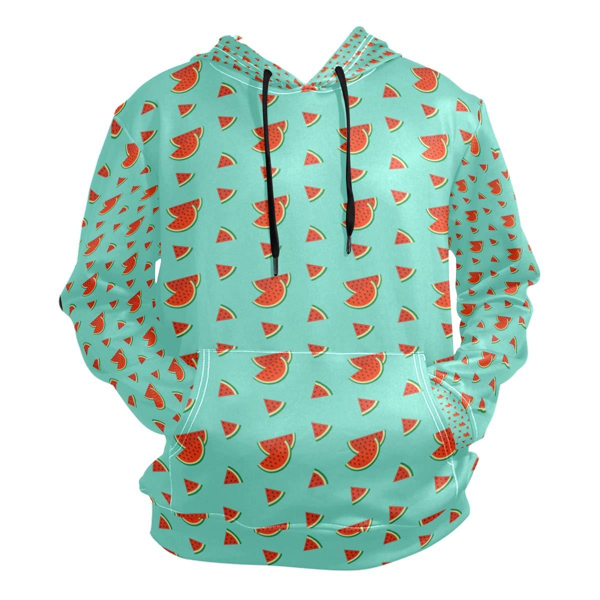 Mens Hooded Sweatshirt Watermelon Slice Print Green Pullover Fashion Hoodie Sweater