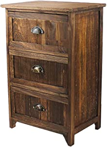 Jerry & Maggie - Nightstand Classic Rustic Dark Brown Wood - Night Stand Storage Bedside Table with 3 Drawer Real Natural Indus Wood Texture