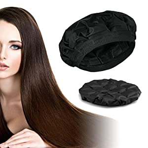 Locisne Cordless Deep Conditioning Hair Treatment Cap Heated Hair Steamer Gel Cap Hair Therapy Wrap Large Enough For Oil or Conditioner Deep Penetrating Hair and Scalp Treatments Black