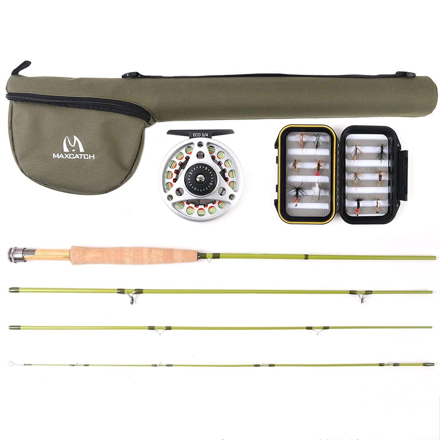 M MAXIMUMCATCH Maxcatch Ultra-lite Fly Rod for Streams Panfish/Trout Fishing 1/2/3 Weight (Ultra-lite Rod Combo, 6'0'' 2wt 3pcs)