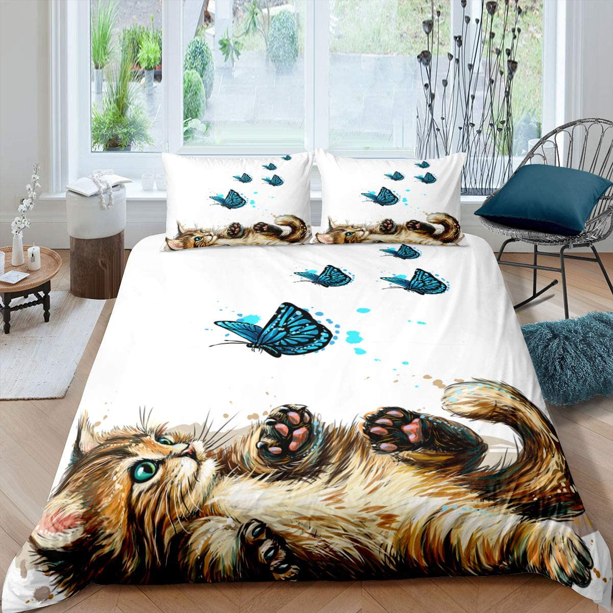 Cat Comforter Cover Blue Butterfly Decor Duvet Cover for Kids Girls Boys Cute Cartoon Oil Painting Cat Pattern Bedding Set Lovely Animal Bedspread with Zipper Ties Soft Microfiber Quilt Set, Twin
