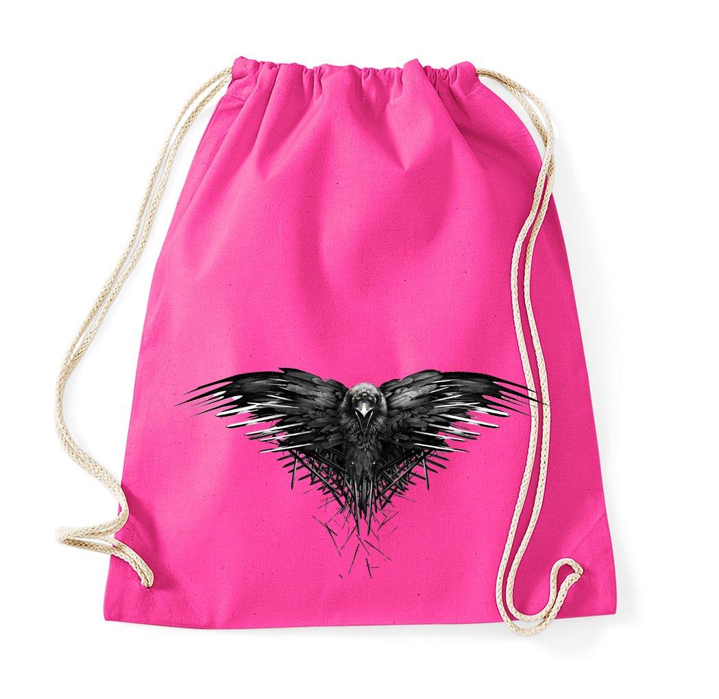 TRVPPY Baumwoll Turnbeutel Sportbeutel Modell Three Eyed Raven Dreiäugiger Rabe Krähe Crow in verschiedenen Farben