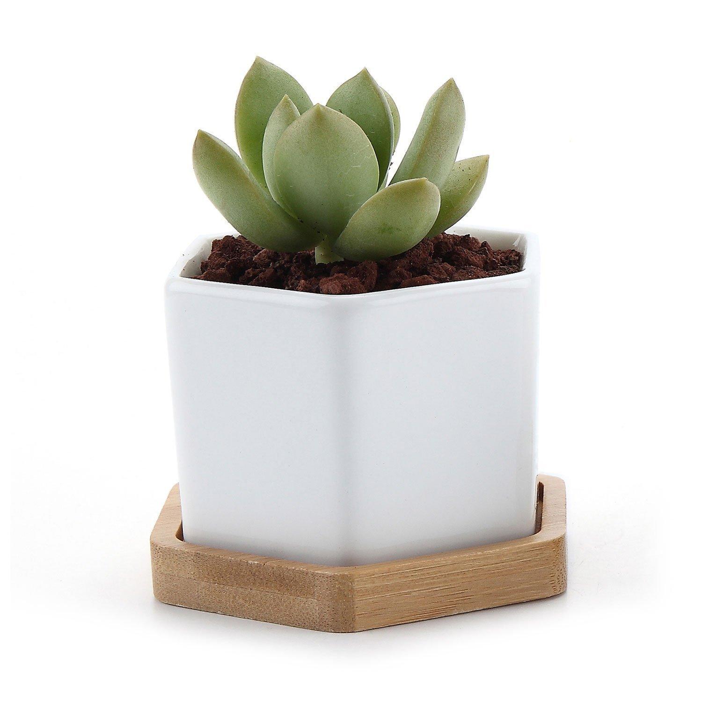 White Ceramics Flower Pot, Adorable Hexagonal Pattern Modern Planter Pot for Succulent Cactus Plants Home Decorative Pot 1 Pack of 1
