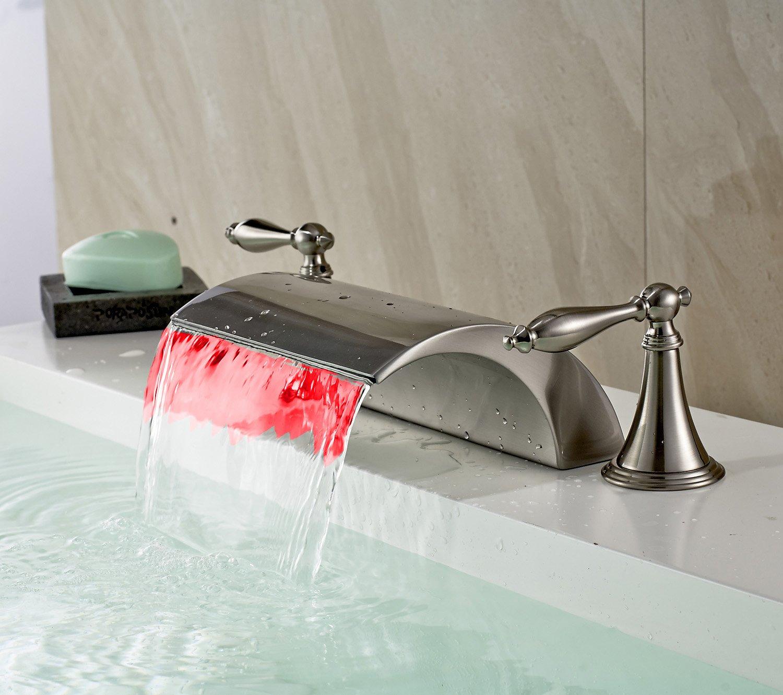 Rozin LED Light Waterfall Widespread Bathtub Mixer Tap Faucet ...