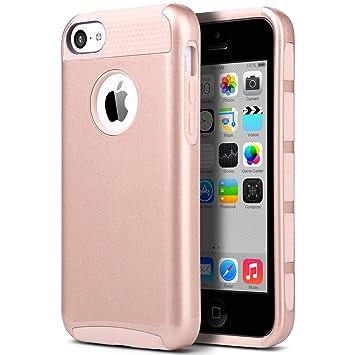 Carcasa iPhone 5c, ULAK Funda Doble Capa del Silicona de Alta Resistencia del Carcasa de Shell para el iPhone 5c con Protector de Pantalla (Rosa Oro)