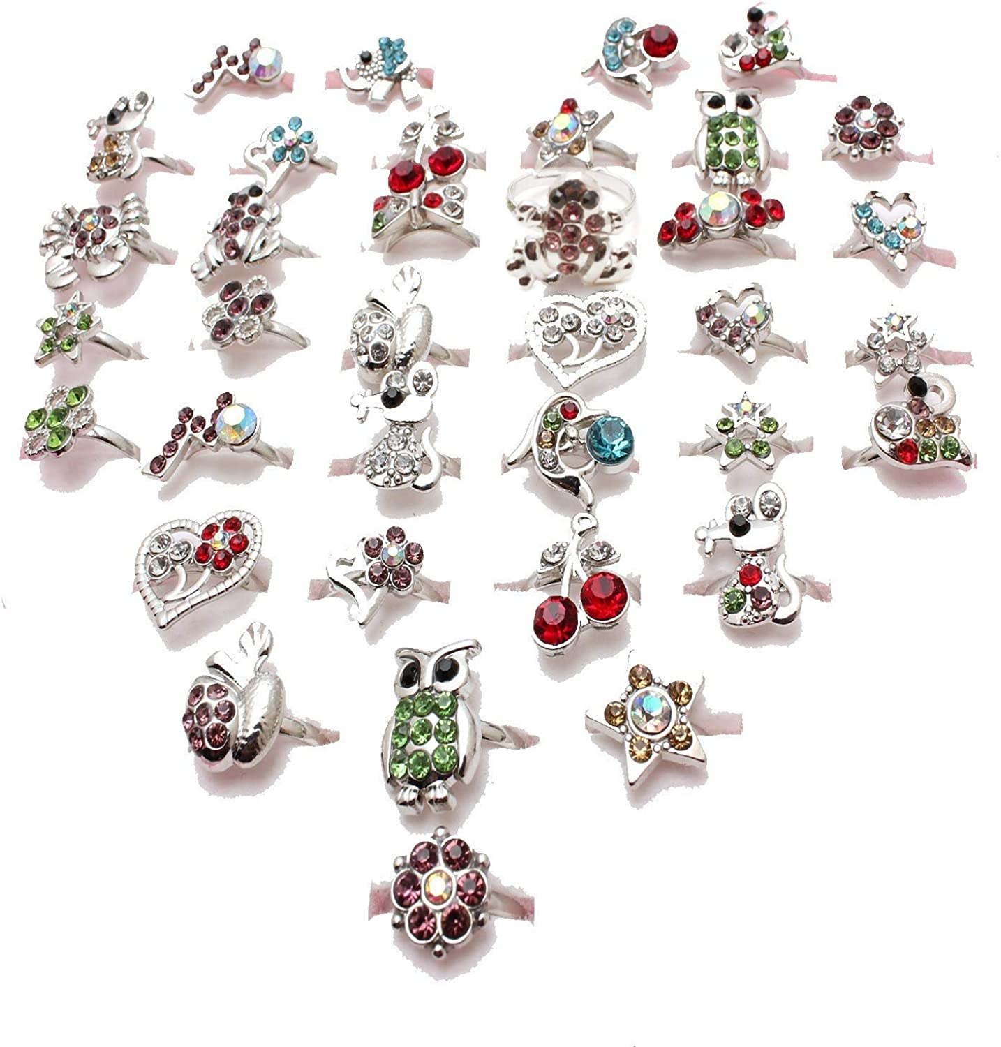 Kids Ring Little Girls Jewelry Adjustable Pretend Play and Dress Up Rings Mixed Cartoon Animals Flowers Fruit Crystal Pack of 36pcs gift box