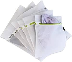 Prime Line Packaging Zippered Mesh Laundry Bags (Pack of 6, 2 Sizes – Three Large, Three Medium), Polyester Mesh Bags for Washing Clothes, Lingerie, Bras, Underwear & Delicates.
