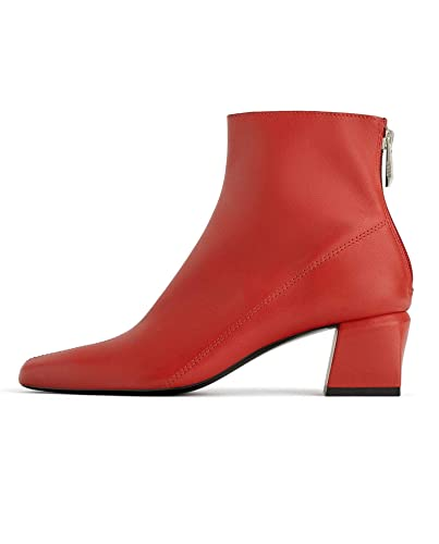 29ddedbaa688d Amazon.com: Zara Women Red Leather Square Heel Ankle Boots 3112/001 ...