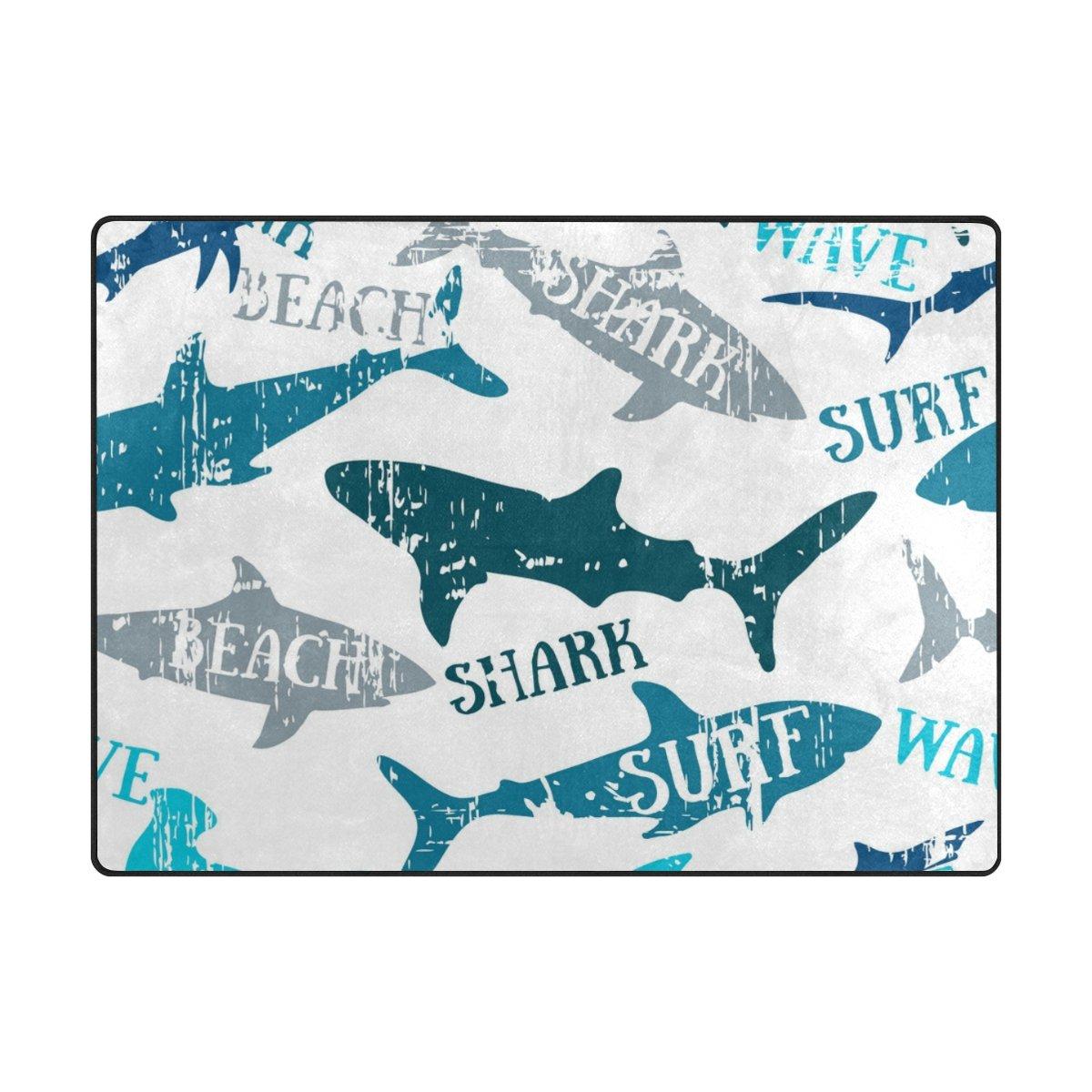 クーパーGirl Watercolor Shark Kidsエリアラグ学習カーペットのリビングルームベッドルーム5 ' 3
